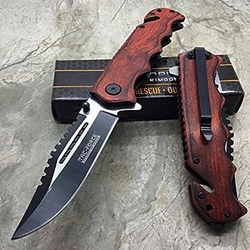 Tac Force G Store Vintage Wooden Handle Pocket Hunting Tactical Hunting Handy Knife  Original