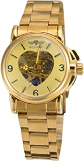 Winner Luxury Women Automatic Mechanical Gold Watch Unique Heart Shaped Hollow Dial Stainless Steel Strap