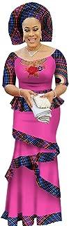 Womens African Print Ruffle 3 Piece Skirt & Tops and Headwrap Set