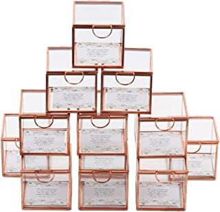 Koyal Wholesale Display Glass Boxes Hinged Lids, Bulk Set of 12 Wedding Escort Cards, 3 Inch Party Favors, Rose Gold Jewel...