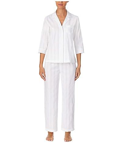 LAUREN Ralph Lauren Shadow Stripe Woven Short Sleeve Notch Collar Pajama Set (White) Women