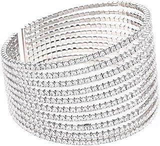 Sparkling Womens Crystal 10 Strand Rhinestone Bracelet