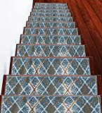 SussexHome Stair Treads - 100% Polypropylene Anti-Slip Carpet Strips for Indoor Stairs - Easy to Install Runner Rugs with Double Adhesive Tape - Safe, Decorative Mats - 13-Pack - Teal