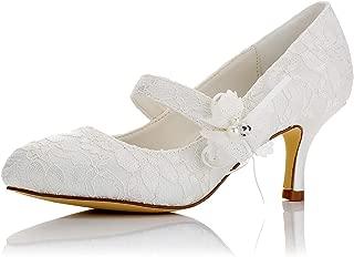 JIAJIA 586449 Women's Bridal Shoes Closed Toe Mid Heel Lace Satin Pumps Satin Flower Imitation Wedding Shoes