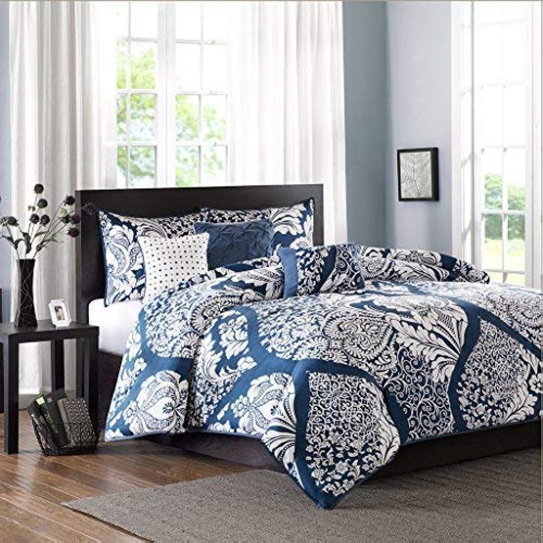 Madison Park Vienna Duvet Cover Full Queen Size - Indigo bluee, Damask Duvet Cover Set – 6 Piece – Cotton Light Weight Bed Comforter Covers