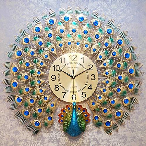 Horloge Chinois Vent Horloge Murale Salon Simple Personnalité Créative Horloge De Paon Muet Ambiance De Ménage Électronique Horloge À Quartz