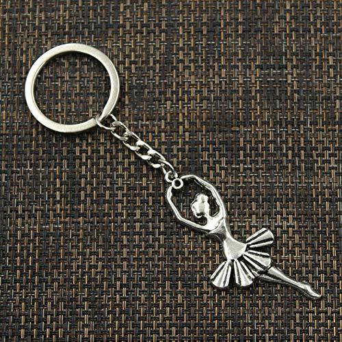 N/Een Mode 30Mm Sleutelhanger Metalen Sleutelhanger Sieraden Antiek Zilver Brons Plated Ballet Dancer Ballerina 61X24Mm Hanger
