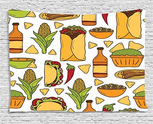 ABAKUHAUS Mexicano Tapiz de Pared, Latin Food Chile Sabor Taco, para el Dormitorio Apto Lavadora y Secadora Estampado Digital, 200 x 150 cm, El Jengibre Albaricoque Verde Lima