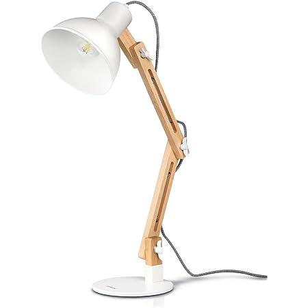 tomons Lampe de Bureau LED, Lampe de Table à Bras Réglable, Lampe de Lecture Protection des Yeux pour Lecture, Travail, Blanc Lampe de Chevet
