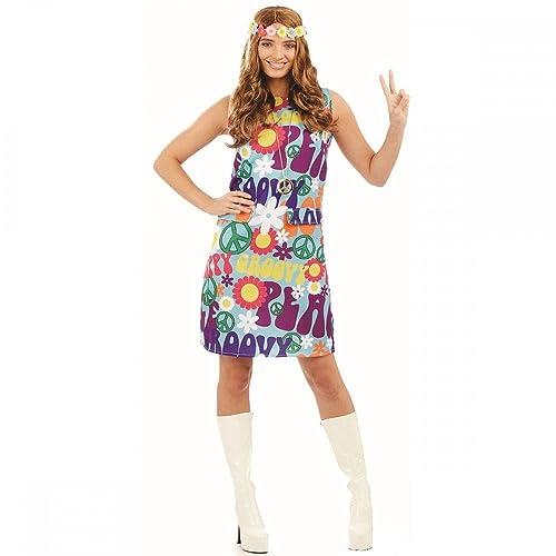 Groovy Hippie Ladies Fancy Dress 1970s 70s Peace Hippy Womens Adults Costume  New (Medium UK 1f663c71dd