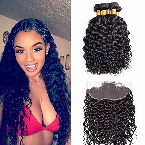 Maxine 10A Water Wave 3 Bundles With Ear to Ear Lace Frontal Closure Unprocessed Peruvian Virgin Human Hair Weave with 13x4 Inch Full Lace Frontal With Baby Hair 12 14 16 and 10inch