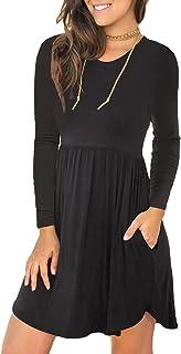 LONGYUAN Women's Long Sleeve Fall T Shirt Dresses Casual Swing Dress with Pockets
