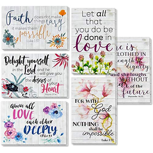 60 Inspirational Cards with Envelopes, Bulk Bible Verse Quote Scripture Greeting Cards, Religious Motivational Encouragement Get Well with Floral Design, 4 x 6 Inches