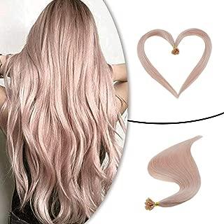 Runature Nail Tip Pink Color Extensions Human Hair Extensions Pink Color 18 Inches 25g (1g/Strands) U Nail Tip Extension Real Remy Hair Extensions with Keratin Glue for Women