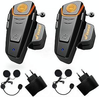 Qaurora BT-S2 1000 M Bluetooth Headset Impermeable, Casco Intercomunicador Interphone Móvil para 2 o 3 Jinetes y 2,5 mm de...