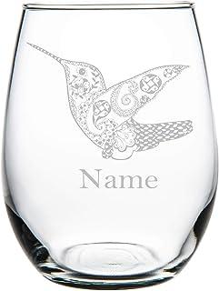 Hummingbird with name 15 oz. stemless wine glass