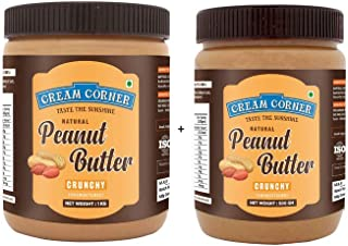 CREAM CORNER Peanut Butter Combo Crunchy + Crunchy Spread All Natural High Protein Nut Butter Healthy Snack_(1Kg+500g)
