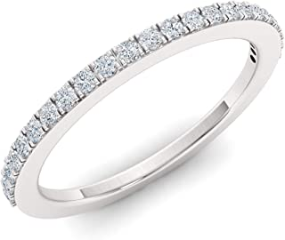 Natural and Certified Diamond Wedding Ring in 14K White Gold | 0.09 Carat Half Eternity Stackable Band for Women, US Size 4 to 9