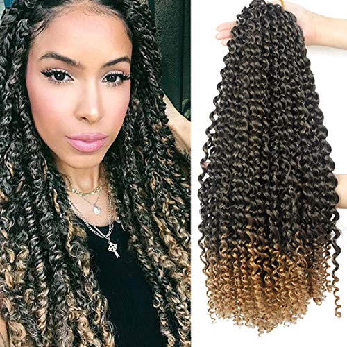 Passion Twist Hair 18 Inch 6 Packs/Lot Water Wave Crochet for Passion Twists Long Bohemian Hair Braiding Passion Twist Crochet Hair Braids Synthetic Hair Extensions (T1B/27#)