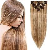 Clip in Extensions Echthaar Ombre Hellbraun/Hell-Lichtblond #12P613 Haarverlängerung 8 Teile 18 Clips Remy Human Hair guenstig Glatt Haarverdichtung 25cm-50g