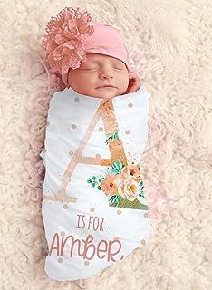 Baby Girl Floral Monogram Blanket Colored Personalized Baby Blanket Personalized Swaddle Blanket Baby Girl Receiving Blanket Monogram
