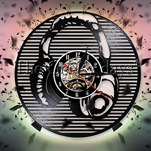 fdgdfgd Negro Retro CD Reloj Creativo Escuchar Música Auriculares Disco de Vinilo Reloj de Pared Música Rock Regalos | Diseño de Arte único