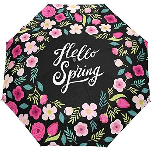Hola Primavera Flores Floral Colorido Auto Abrir Cerrar Sol Lluvia Paraguas