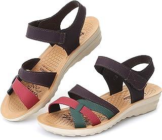 gracosy Sandales Femmes, Chaussures Compensées en Cuir avec Scratch Nu Pieds Sandales Bout Ouvert Antidérapant Léger Plage...