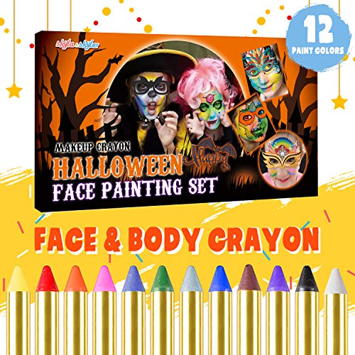 SKYLA&SKYLER Face Paint Crayon Kits for Kids 12 Colors Face Painting Kits,Safe Non-Toxic for Face&Body,Professional Makeup Suppile Crayons for Themed Parties, Masquerades, Birthday Parties, Carnivals