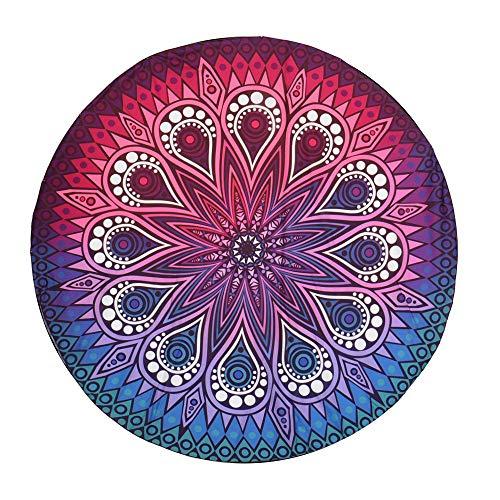 Kreative Runde Komfort Yoga Matte Farbmuster Print Strandtuch Chiffon Mode Strandmatte 145 cm (A)
