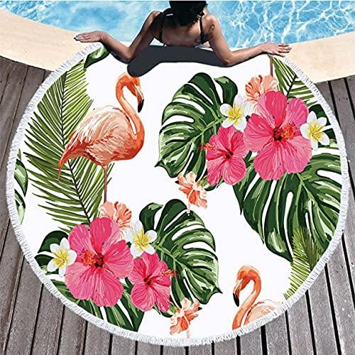 IAMZHL Toalla de Playa Redonda Toalla de Ducha de baño Redonda geométrica con Bolsa de Almacenamiento con cordón Manta de Esterilla de Yoga Suministros de Playa de Verano-MULTI-150CM*150CM