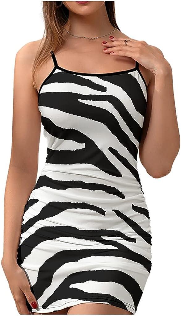 DCcphiz Womens Adjustable Spaghetti Strap Tank Dress Pattern Printed Sleeveless Bodycon Club Party Mini Dress
