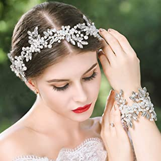 Drecode Bridal Wedding Hair Vine Silver Rhinestone Headpieces Pearl Hair Accessories for Women and Girls(With Bracelet)