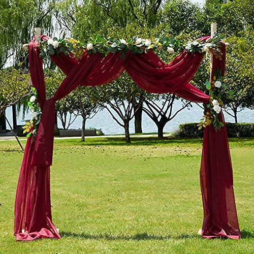 PONY DANCE Cortinas Visillos Decor Ventanas - Pañuelo Largo Diseño Moderno Cortinas Tul Colgantes para Salon Habitacion Juvenil Matrimonio, 1 Panel, Rojo, 548 x 152 cm