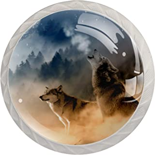 Poignées de Tiroir pour armoire,tiroir,coffre,commode,etc.. Loup Animal Pleine Lune