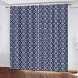 Fvvsovs Cortina 3D Dormitorio Patrón Dibujado A Mano De Dibujos Animados Azul Impresión 3D - Aislamiento Reducción De Ruido, Sin Desvanecimiento 2 Piezas/Set - Apto para Sala De Estar Dormitorio 170