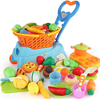 Sotodik 31PCS Cutting Toys Shopping Cart Toys Pretend Food Fruits Vegetable Playset Educational Learning Toy Kitchen Play ...