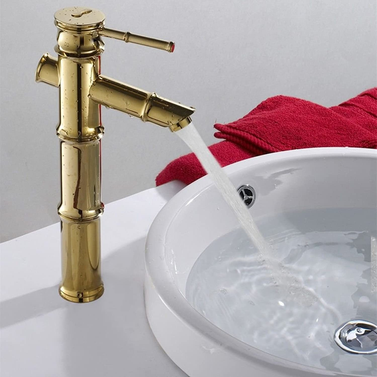 SADASD Contemporary Bathroom Full Copper Basin Faucet gold High-Basin Sink Mixer Tap Ceramic Spool Single Hole Single Handle Cold Water With G1 2 Hose