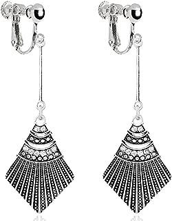 Retro Scallop Clip on Earrings Long Dangle Shell Tassel Screwback Art Deco Crystal for Kids Girls Women