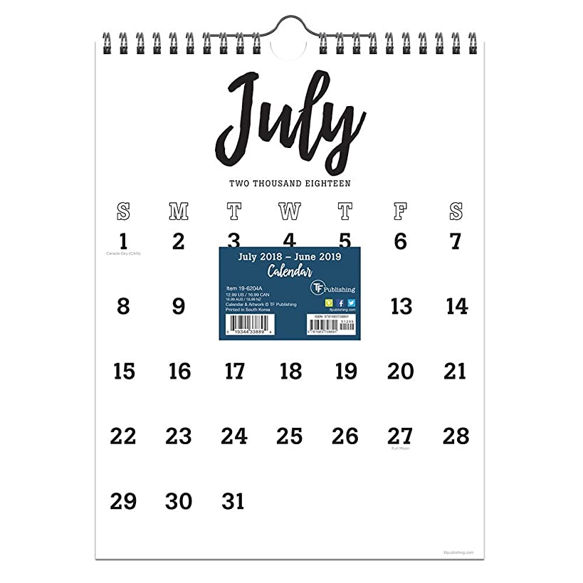 TF Publishing 19-6204A July 2018 - June 2019 Black & White Script Monthly Wall Calendar, 9 x 12