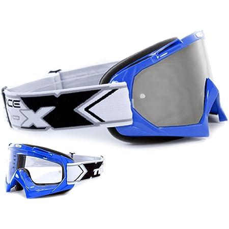 Two X Race Crossbrille Blau Glas Verspiegelt Grün Mx Brille Motocross Enduro Spiegelglas Motorradbrille Anti Scratch Mx Schutzbrille Auto