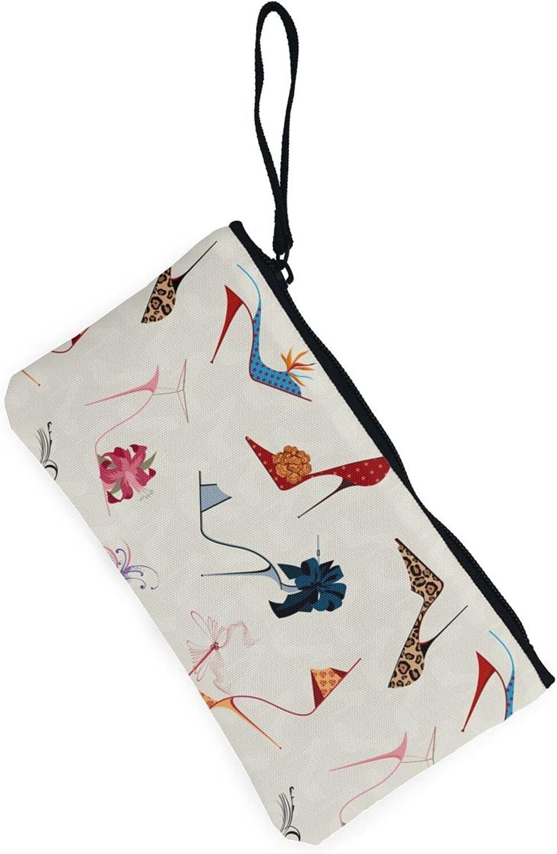 AORRUAM High Heels Colorful Shoe Canvas Coin Purse,Canvas Zipper Pencil Cases,Canvas Change Purse Pouch Mini Wallet Coin Bag