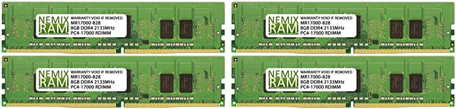 32GB (4x8GB) DDR4-2133MHz PC4-17000 ECC RDIMM 2Rx8 1.2V Registered Memory for Server/Workstation