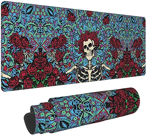 Grateful Skull Dead Gaming Mouse Pad XL,Extended Large Mouse Mat Desk Pad, Stitched Edges Mousepad,Long Non-Slip Rubber Base Mice Pad,31.5X11.8 Inch