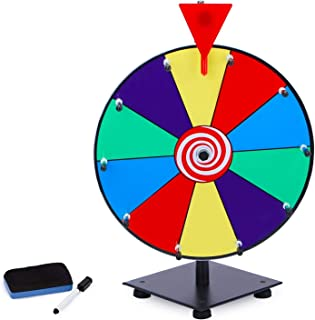 T-SIGN 12 Inch Heavy Duty Spinning Prize Wheel, 10 Slots Color Tabletop Prize Wheel Spinner with Dry Erase Markers and Era...