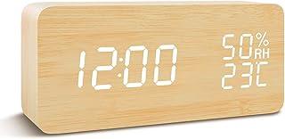 COOLEAD Reloj Despertador Madera, Escritorio Digital Despertador con Tiempo/Fecha/Temperatura/Humedad, 3 Grupos de Alarma, Brillo Ajustable y Control de Sonido