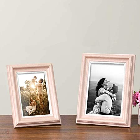 """Art Street Table Photo Frame/Picture Frame for Desk (Photo Size 5""""X7"""" & 4""""X6"""") Photo Gift/Love Gift - (Set of 2- Pink)"""