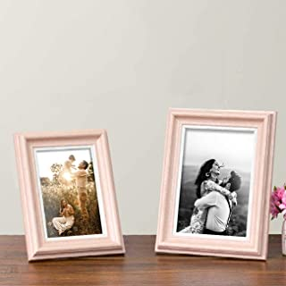 "Art Street Table Photo Frame/Picture Frame for Desk (Photo Size 5""X7"" & 4""X6"") Photo Gift/Love Gift - (Set of 2- Pink)"