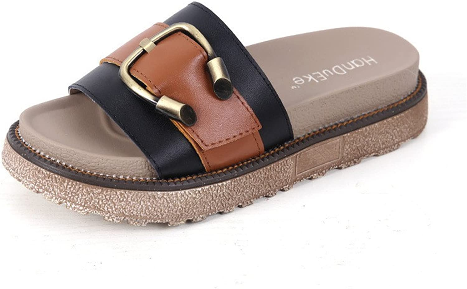 Gusha Platform with Slippers Women's Thick-Soled flip-Flops Flat Sandals
