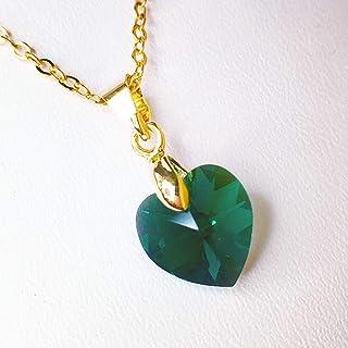 Collar de Piedra del mes Mayo Esmeralda con corazón de Swarovski, May Emerald Swarovski Birthstone Necklace - Tutti Joyería